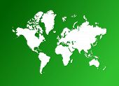 Map Of The World On Green Gradient Background poster