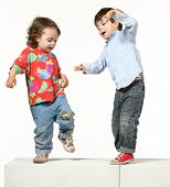 image of break-dance  - portrait of a brother and sister - JPG