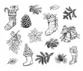 Christmas hand drawn sketch of gift stocking sock, pine wreath, fir cone, spruce branch, holly leaf  poster