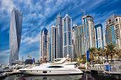 Dubai Marina With Boats In Dubai, United Arab Emirates, Middle East poster