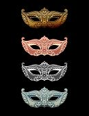 Постер, плакат: Beautiful set mask of lace Mardi Gras vector background Gold and black masquerade mask Venetian c