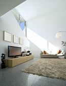 stock photo of interior  - interior modern brick house - JPG