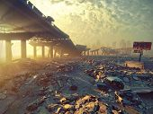 Ruins of a city. Apocalyptic landscape.3d illustration concept poster