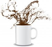 Vector illustration of coffee splashing out of a mug
