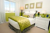 Modern bedroom in shades of green