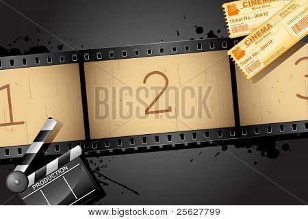 Постер, плакат: Иллюстрация плёнки с Клаппер Совет и кино билет, холст на подрамнике