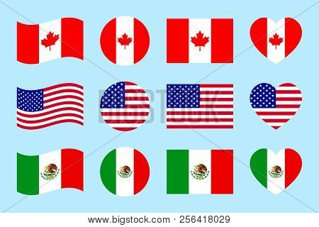 Northern America Countries Flags Vector