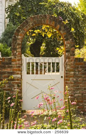 Picture or Photo of Garden gate with brick arch