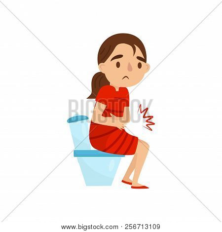 Child With Stomach Pains  Little Girl Sitting On Toilet  Kid Suffering From  Diarrhea Or Constipation poster