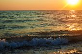 Seascape During Sunrise. Beautiful Natural Seascape At The Summer Time poster