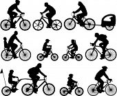 stock photo of silhouette  - bicyclists silhouettes collection  - JPG