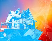 A modern house on a color background surrounded by digital networks - an illustration of a smart eco poster