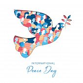 International Peace Day Illustration In Paper Cut Style For Culture Unity Around The World. Dove Bir poster