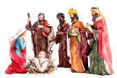 Christmas Nativity Scene. Baby Jesus In The Manger With Mary, Joseph And The Three Wise Men Isolated poster
