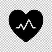 Cardiac Pulse. Heart And Pulse Line. Simple Single Icon. On Tran poster