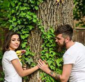 Couple In Love Romantic Date Walk Nature Tree Background. Love Relations Romantic Feelings. Man Bear poster