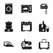 Home Appliances Icons Set. Simple Illustration Of 9 Home Appliances Icons For Web poster