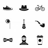 Hippie Icons Set. Simple Illustration Of 9 Hippie Icons For Web poster