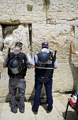 stock photo of tora  - police officers praying at the wailing western wall - JPG