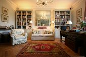 pic of old-fashioned  - Luxury and classic style living room with bookshelf - JPG