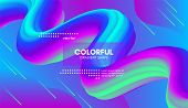 Abstract Gradient Poster With Colorful Liquid Shape. Modern Wave Flow Design. 3d Vector Illustration poster