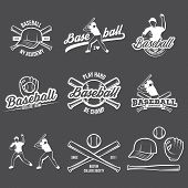 Collection Of Vector Illustrations Of Baseball Team Competition Logos And Insignias In Grunge Vintag poster