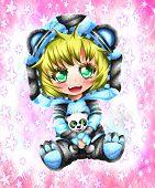 Kawaii Little Girl With A Sweater Of Panda, Anime Chibi Syle. poster