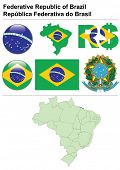 Brazil collection including flag, map (administrative division), symbol, currency unit & glossy butt