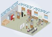 Isometric office with people. Full pack of furniture including accessories. All objects are editable