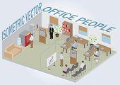 Постер, плакат: Изометрические офис с людьми Полный пакет мебели включая аксессуары Все объекты являются изменяемыми
