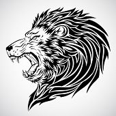 stock photo of lions-head  - Lion Roar Tattoo - JPG