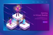 Gaming In Virtual Reality Isometric Web Banner With Female And Male Gamers In Vr Goggles Playing Vid poster