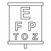 Placard With Letters Eyesight Testing Icon. Outline Illustration Of Placard With Letters Eyesight Te poster