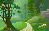 picture of field_stone  - Green Amazon forest with lonely pathway - JPG