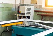 Production Of Pvc Windows, Gluing Of Plastic Corners Of Windows, Machine For The Production Of Pvc W poster
