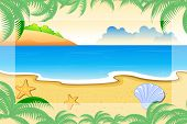 stock photo of tropical island  - illustration of sea view surrounded with palm leaves - JPG