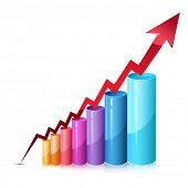 picture of ascending  - illustration of bar graph with rising arrow on isolated background - JPG