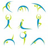 pic of yoga silhouette  - illustration of icons showing different yoga poses on isolated background - JPG