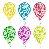 stock photo of happy birthday  - illustration of set of balloon for different occasion on isolated white background - JPG