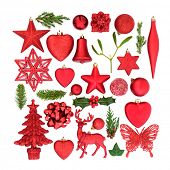 Christmas red bauble tree decorations and ornaments with winter flora on white background. Festive C poster