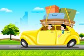 picture of road trip  - illustration of family in car loaded with luggage going for trip - JPG