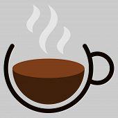 Logo Cup Of Hot Coffee. Vector Mug Of Hot Coffee With Steam. Cup Of Hot Coffee With Steam. poster