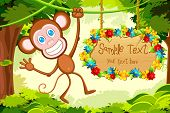 stock photo of jungle  - illustration of monkey jumping in jungle with floral sign board - JPG