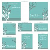 foto of wedding invitation  - illustration of set of wedding reception invitation card - JPG