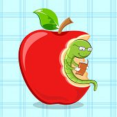image of bookworm  - illustration of bookworm reading while sitting in apple - JPG