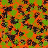 Abstract Seamless Tropical Pattern For Girl And Boy. Creative Vector Tropical Pattern, Colorful Wall poster