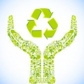 pic of recycled paper  - illustration of hand made of recycle symbol - JPG