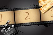 stock photo of boarding pass  - illustration of film reel with clapper board and movie ticket - JPG