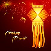 picture of deepavali  - illustration of hanging lantern with firework in diwali night - JPG