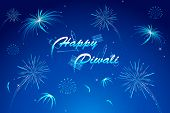stock photo of ganpati  - illustration of diwali wish with firework in night sky - JPG